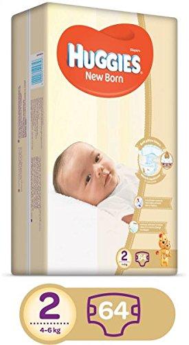 HUGGIES pañales recién nacidos, tamaño 2, paquete de valor, 4 – 6 kg