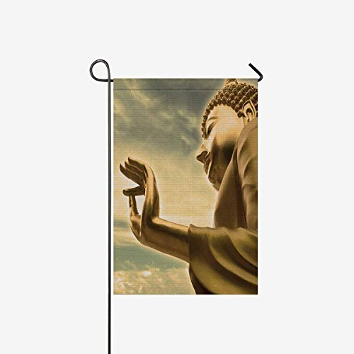 Pretty Lee Golden Buddha Statue Cloudy Bangkok Thailand Sky Garden Flag Decorative Double Sided 28 x 40 inch Flg for Garden and Home Decorations, House Banner