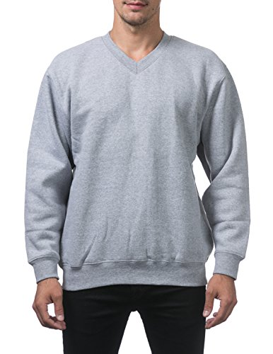 Pro Club Men's Heavyweight Fleece V-Neck Sweatshirt, Heather Gray, 2X-Large