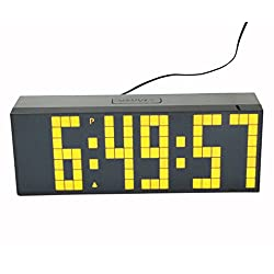 LambTown Digital Alarm Clocks Led Countdown Timer with Temperature Date 3 Inches High Big Yellow Digits Highly Visible for Home Decoration Gyms Games Kitchen