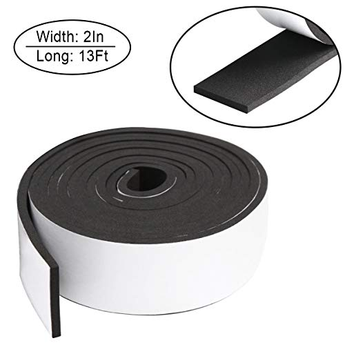 Foam Insulation Tape self Adhesive,Weather Stripping for Doors and Windows,Sound Proof soundproofing Door Seal,Weatherstrip,Cooling, Air Conditioning Seal Strip (2In x 1/4In x 13Ft, Black)