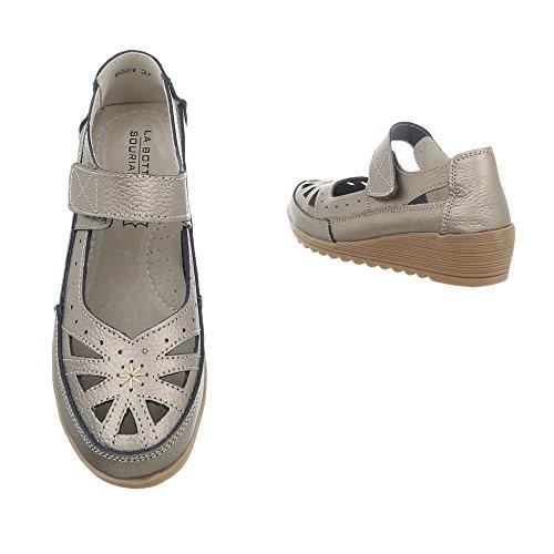 a80a1f16a5ce ... Riemchensandalen Leder Damenschuhe Klettverschluss Ital-Design Sandalen    Sandaletten Grau Silber 8001-1