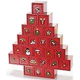 Calendario dell'Avvento ad albero in legno con cassettini
