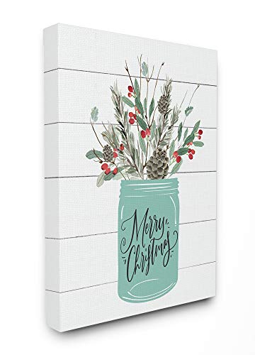 The Stupell Home Décor Collection Holiday Merry Christmas Mason Jar with Holly and Pinecones Stretched Canvas Wall Art, 24 x 30, Multi-Color