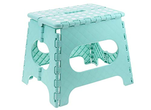 Unity 11 Non-Slip Foldable Step Stool with Carrying Handle - Supports Up To 300LBS - Easy Open - Perfect for Kitchen, Bathroom, Bedroom & More - by Unity (Turquoise/White Dots)
