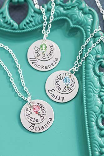 Personalized Big Sister Necklace – DII ABC - Little Middle Gift – 1/2 Inch 3/4 Inch 12.7MM 19.05MM Silver Discs – Choose Birthstone Color – Personalized Name - Fast 1 Day Shipping