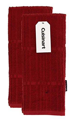 Cuisinart Bamboo Dish Towel Set-Kitchen and Hand Towels for Drying Dishes / Hands - Absorbent, Soft and Anti-Microbial-Premium Bamboo / Cotton Blend, 2 Pack, 16 x 26, Red Dahlia, Bark-Effect Design