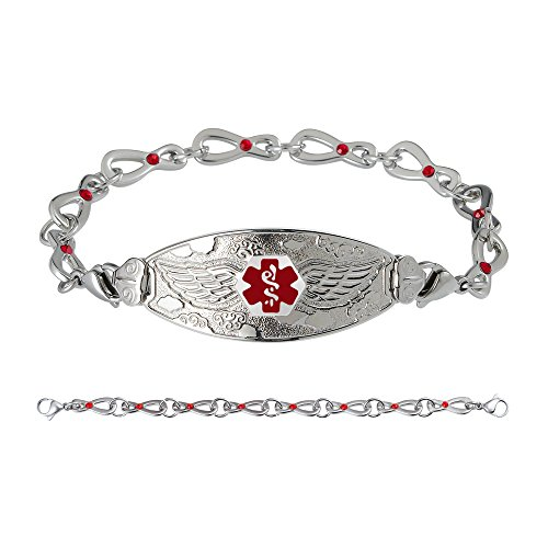 Divoti Custom Engraved Medical Alert Bracelets for Women, Stainless Steel Medical Bracelet, Medical ID Bracelet w/Free Engraving - Angel Wing Tag w/Infinity Siam Crystal-Red-6.5
