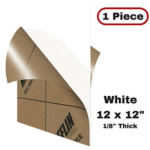 MIFFLIN Cast Acrylic Plexiglass, Translucent White (12x12 Inch, 1 Piece) Plexi Plastic Sheet, .118