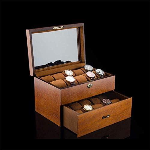 HRSS Watch Box aus Holz Fraxinus mandshurica Double Layer-Uhr-Kasten mit Verschluss-Armband-Uhr-mechanische Uhr Schmuck Collection (Farbe: mit Fenstern, Größe: 31x21x19cm)