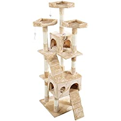 "Buylucky New 66"" Cat Tree Tower Condo Furniture Scratching Post Pet Kitty Play House 4 Colors! Ship from CA & KS! 1-4 Days Shipment! (Beige)"