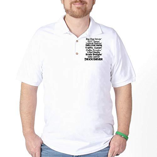 - CafePress Big Rig Drivin' Golf Shirt Golf Shirt, Pique Knit Golf Polo White