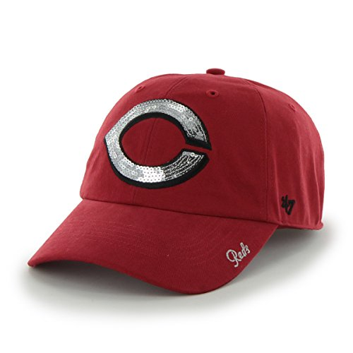 ('47 MLB Cincinnati Reds Women's Sparkle Clean Up Adjustable Hat,)