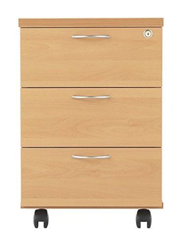 3 Drawer Mobile Pedestal in Beech from the SMART Office Furniture Range - Desk Drawers Relax Office Furniture