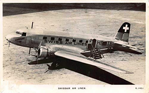 Real Photo Postcard Swissair Swiss Air Lines Air Liner Airplane~122420