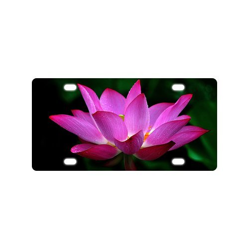 New Arrival! Novelty Tag Beautiful Lotus Flower Pattern Durable Aluminum Car License Plate 12
