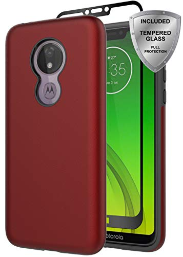 Moto G7 Power case, Moto G7 Supra Case, ChangeJ Heavy Duty Shockproof Reinforced Hard PC Frame and TPU Bumper with Tempered Glass Screen Protector Case for Motorola Moto G7 Power/Supra - Red