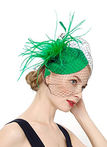 - Fascinators Hats 20s 50s Hat Pillbox Hat Cocktail Tea Party Headwear with Veil for Girls and Women (B-Green)