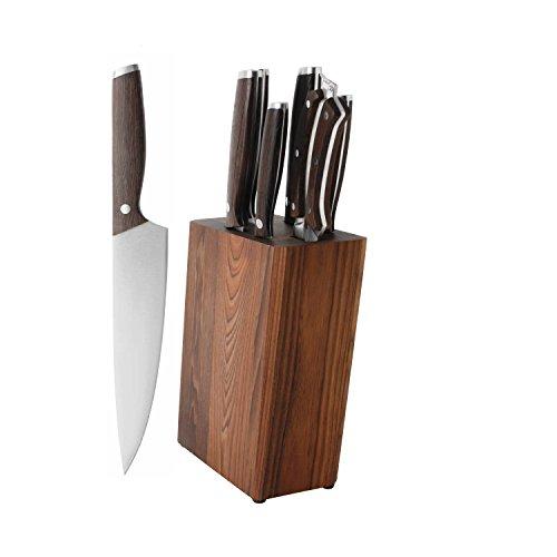 (BergHOFF Rosewood Essentials Collection | 7-Piece Dark Wooden Knife Block | Stainless)