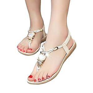 Fashion Brand Best Show Women's Summer Style Elastic T-strap Bohemia Beaded Owl Flat Sandals