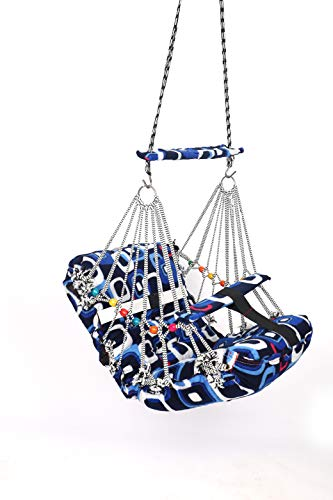 Khel Khilona Cotton Swing for Kids Baby's Children Folding and Washable 1-3 Years with Safety Belt Home Garden Jhula for Babies for Indoor Outdoor-Multi Colour