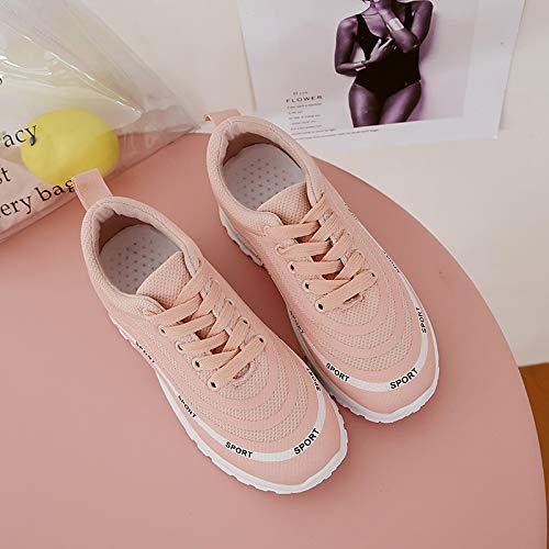 Negro Spring ZHZNVX Rosa Sneakers Comfort Pink Mujer de Zapatos Blanco Caminar Zapatos para Redonda amp; Summer Punta Tela Plataforma aIwraq