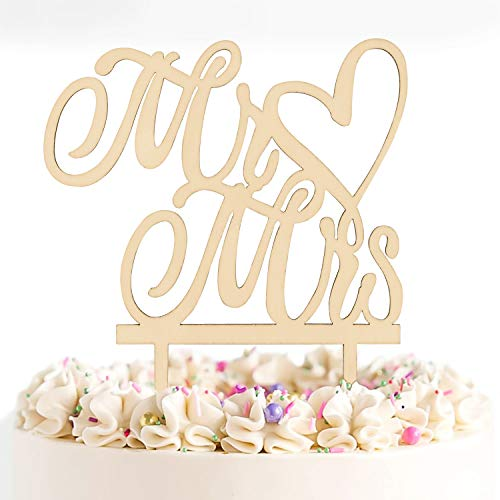 Novelty Place Mr and Mrs Cake Topper - Natural Wooden Wedding Cake Decorative Crafts - Bridal Shower Anniversary Party Decorations Favors - Novelty Cake Toppers