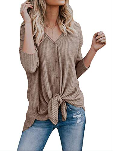 Casual Lache Blouse Irrgulier tricots Shirt Col Noeud Boutons Sweat Tops Chandails Femme Walant Tunique Caf Mode Cardigan V Chauve Longues Chemisier Manches Souris Dcontract wHvq17RB