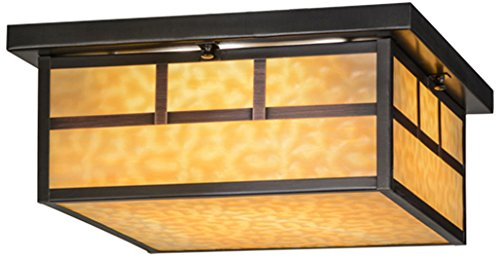 Meyda Tiffany 153662 Hyde Park Double Bar Mission Flush Mount Light Fixture, 16 sq. (Mission Oak Glass Table)