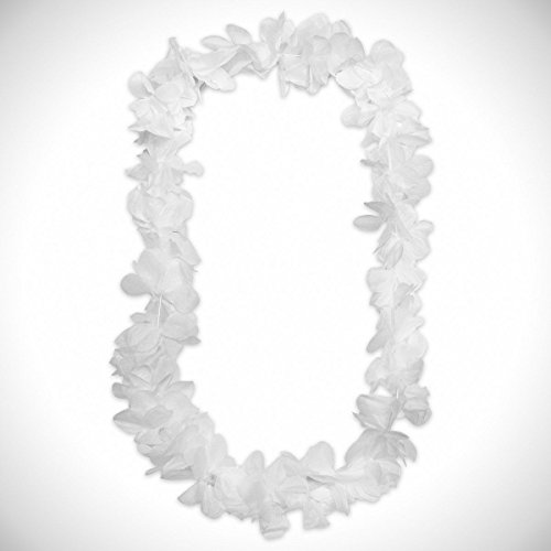 White Silk Flower Leis - 42