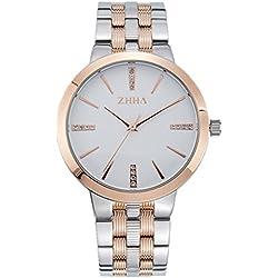 ZHHA Men's 065 Luxury Quartz White Dial Gold Stainless Steel Bracelet Wrist Watch Waterproof