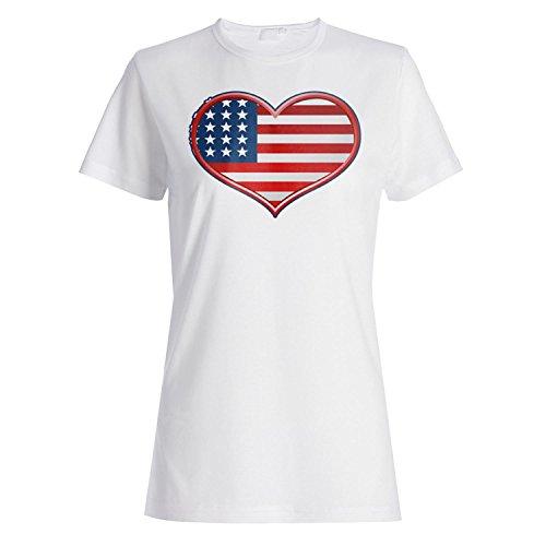 Ich liebe dich Herz usa Neuheit lustige Vintage Kunst Damen T-shirt a116f