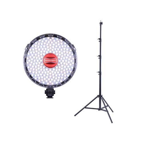 Elinchrom Cable Remote - ROTOLIGHT NEO II On-Camera LED Lighting Fixture, Light and Flash Modes - with Flashpoint Pro Air Cushioned Heavy Duty Light Stand 9.5'
