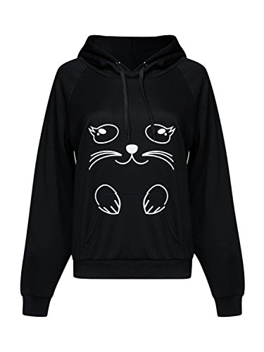 PERSUN Womens Cat Hoodie with Kangaroo Pouch and Ears Long Sleeve Casual Pullover Sweatshirt,Black,Small
