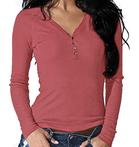Roselux Women's Long Sleeve Solid Sexy V Neck Knit Ribbed Henley Shirt Blouse Tops (Red 01,L) (Skirt Wool One Button)