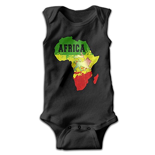 Baby Kids Africa Map And Rasta Lion Sleeveless Onesies Outfits Black by Honeykid