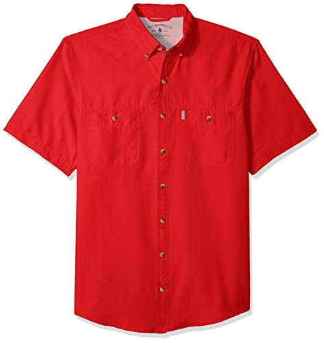G.H. Bass & Co. Men's Big and Tall Explorer Short Sleeve Fishing Shirt Solid Button Pocket, Mars red 1, X-Large