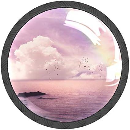 取っ手 引き出しハンドル 海 虹 風景 ピンク おしゃれ 把手 家具ハード 食器棚ワード ワードローブ 耐久性 飾り 4個セット 収納ケース付き