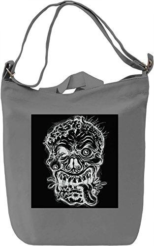 Skull Print Borsa Giornaliera Canvas Canvas Day Bag  100% Premium Cotton Canvas  DTG Printing 