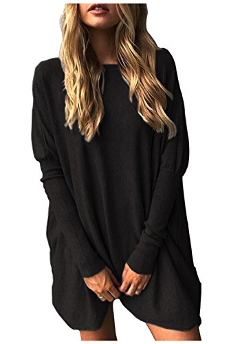 Aifer Women Casual Bat Sleeve Oversized Blouse Loose Pullover Tops - Black Oversized Top