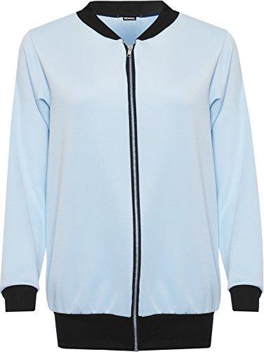 Camiseta de manga larga para Plain con cremallera elástica Bomber chaqueta Top azul claro