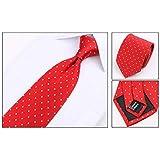 Men dot Polyester Silk necktie set Tie Clip Cufflinks Hanky Necktie,red