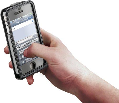 Cellular Line Kunstleder Klapptasche für Apple iPhone 4/4S schwarz