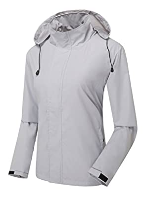 ZSHOW Women's Lightweight Packable Breathable UV Protect Windbreaker Jacket with Removeble Hood