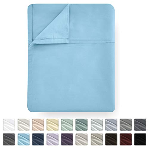 (Queen Size Cotton Flat Sheet Only - Blue Color 400 Thread Count Luxury Soft 100% Cotton Sateen Weave Bedding - Best Hotel Quality Cool Top Sheet for Bed, Lightweight and Breathable)