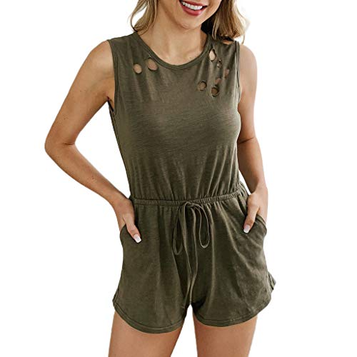 (Alangbudu Women Hollow Out Sleeveless Scoop Neck Tank Elastic Waist Drawstring Playsuit Short Jumpsuit Rompers Pockets Army Green)