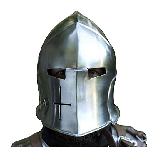 AnNafi Barbuta Viking Battle Knight Helmet | Steel Medieval Visored Barbute Helm Armor SCA LARP Replica Costume]()