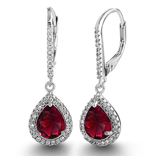 LESA MICHELE 2 Cttw Pear Shaped Simulated Ruby and CZ Teardrop Dangle Leverback Earrings for Women in Rhodium Plated 925 Sterling Silver Bridal Earring (Red)