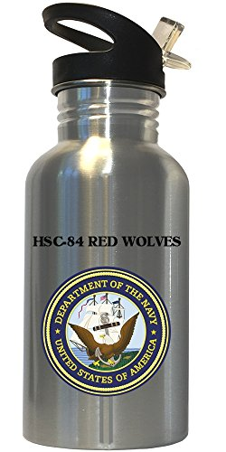 HSC-84 Red Wolves - US Navy Stainless Steel Water Bottle Straw Top, 1025