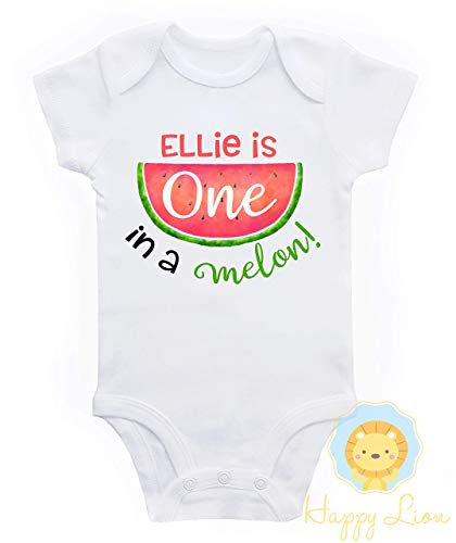 Happy Lion Clothing - Watermelon 1st Birthday bodysuit for Baby Girl, One in a Melon Outfit ()
